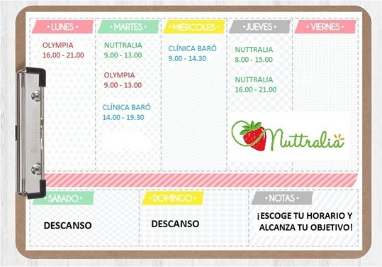 Nuevo horario de consulta de Nuttralia